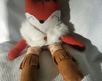 Fox Doll - Fox Ragdoll - Handmade Doll - Fox Toy - Woodland Decor - Fabric Doll