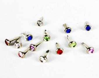 10 x diamondte brads 6mm scrapbooking/gift/papercrafts decorative embellishments