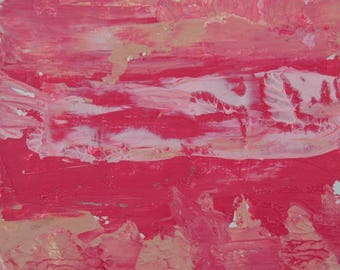 Pink Abstract Miniature Painting. Pink Acrylic Abstract Art Painting. New Apartment Gift. 72