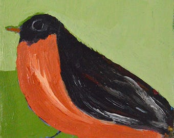 Robin Bird Painting Print. Animal Portrait Art Print. Green Spring Decor. Bird Painting Digital Print. Wildlife Animal Art. 47