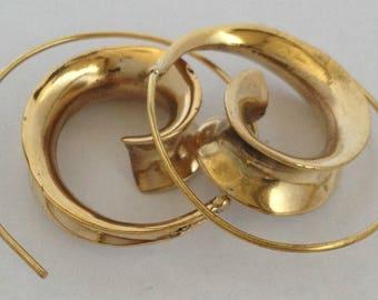 Brass Spiral Shell Tribal Earrings - Ethnic Earrings, Boho Earrings, Funky Earrings, Tribal Earrings EB67