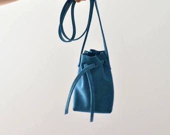 Leather crossbody bag - Evie leather Bucket Bag / small leather purse blue leather bag shoulder bag soft leather purse leather messenger bag