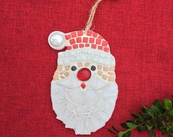 Santa Ornament, Mosaic Christmas ornament, Eclectic Santa, Santa, Ornament Exchange gift, Secret Santa gift, Unique Santa ornament,