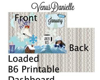 Printable Loaded B6 Dashboard, Printable Dashboard, Digital Dashboard, Winter Printable, January B6 Cover, Travelers Notebook cover