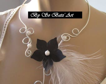 """Necklace + earrings """"Soul"""" black silk flower and white feather"""