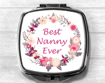 Nanny Compact Mirror, Cosmetic Mirror, Pocket Mirror, Mother Gift, Mother's Day, Mothering Sunday, Mother's Day Gift, Wedding Gift
