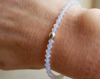 WHITE OPAL Swarovski crystal stretch bracelet with Sterling Silver or Gold Fill bead