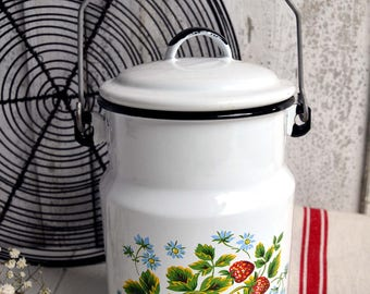 Vintage French Enamel Milk Churn White with Strawberries Floral Milk Can Enamelware Pail
