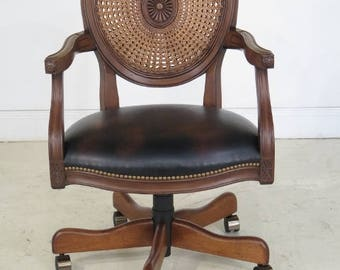 29028E: French Louis XVI Style Cane Back Office Desk Chair
