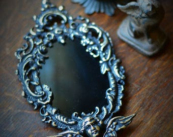 ANGEL SCRYING MIRROR for scrying divination, scrying mirror, black mirror, wiccan altar, altar tools, meditation