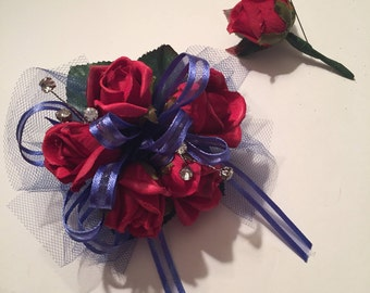 Red and Blue Prom Silk Wrist Corsage, Wedding Corsage, Silk Wrist Corsage