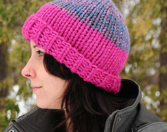 Striped knit hat, pink striped hat, purple striped hat, Hand knit hat, beanie, women's winter hat, gift for her, Christmas gift
