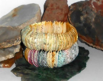 Shell Bead Bracelet, Wide, Natural and Golden or Multi Color - item T0226