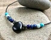 EMF Necklace, EMF, Shungite Necklace, Writer's Necklace, EMF Protective, Amazonite, Lapis, Turquoise Beads, Throat Chakra, Self Expression