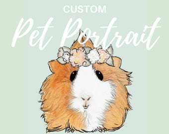 CUSTOM PET PORTRAIT: Cute Original Keepsake Watercolor Small Pet Art Bunny Rabbit Guinea Pig Mouse Hamster