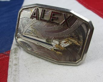 "Vintage 1970's McDonnell Douglas DC-10 ""Alex"" Belt Buckle MD-80 MD-90 Jet Airplane Commercial Airliner Passenger Aviation Pan Am American"