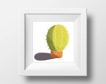 Happy cactus Square Print
