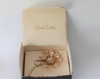 Large Flower Brooch by Sarah Coventry Original Box Allusion 6208 Aurora Borealis 1960s