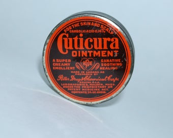 Cuticura Ointment Tin Potter Drug and Chemical Small Salve Can 1950s