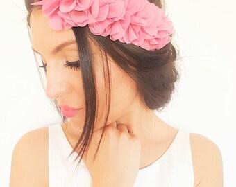 Dark pink flower hair accessory, half pink wreath, rustic wedding headband, bridesmaid headband
