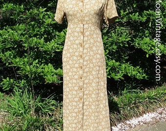 Vintage BOHO DRESS, Rayon GAUZE, Button-Down Midi, Ditzy Floral, 90s does 30s, Golden Yellow Tan, Breezy Feminine Hippie, April Cornell, sm