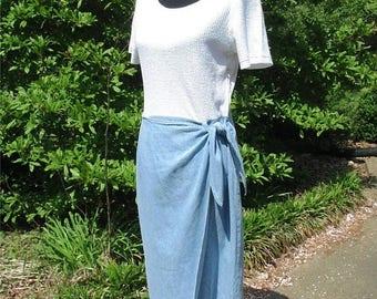 Vintage Midi Dress, DENIM WRAP skirt, WHITE top waffle weave, 80s Boho Summer Dress, Retro Grunge dress, vintage denim midi, side tie skirt