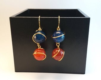Handmade long dangle earrings with agate stone in blue and orange tones