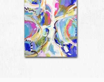 Modern Art Print , Abstract Print, pink, lime, aqua, marendevineart, blue abstract