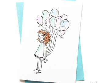 Girl with Balloons - Illustrated - Happy Birthday Card