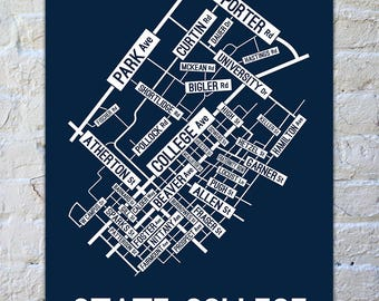 State College, Pennsylvania Street Map Poster