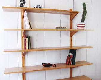 Wall Mounted Bookshelves - Modular System - Customizable - Mid-Century Bookcase - Solid Cherry wood - Wall Unit - Scandinavian Style