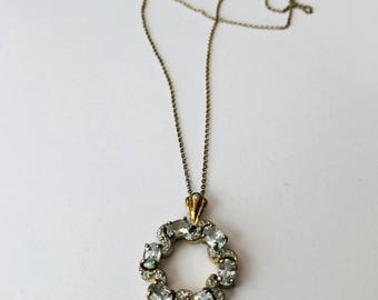 White Topaz with Gold over Sterling Silver Necklace