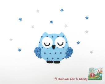 Applied fusing sleeper OWL in blue starry glitter flex applique OWL patch iron on fusible OWL motif