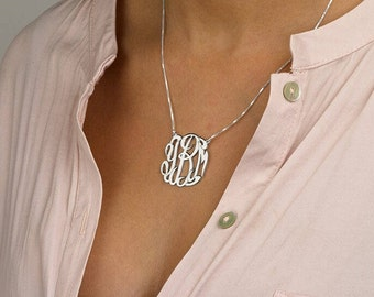 Sterling Silver Monogram Necklace-Silver Cut Out Necklace