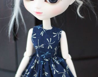 Pullip/Blythe Blue Ladybug dress
