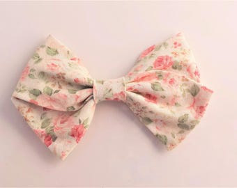 Pink Floral Rose Hand Tied Fabric Bow Clip or Nylon Headband / Sailor Bow Headband / Floral Hand Tied Bow / Pink Floral Rose Sailor Bow