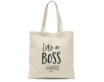 Like a Boss Inspirational Tote Bag | Gift for Boss | Boss Gift Motivational Bag | Screen Print Tote | Graduation Gift for Her