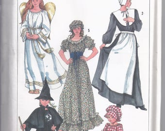 Simplicity Pattern # 7650 from 1986. Misses Costumes: Angel, Witch,Pilgrim, Prairie. Bust 32 1/2 -34  UNCUT