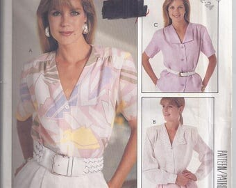 McCalls Pattern # 2915 from 1987.  Misses Blouses Bust 42-46  UNCUT