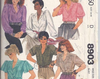 McCalls Pattern # 8903 from 1984. Misses Blouses, button front, back gathers. Bust 34