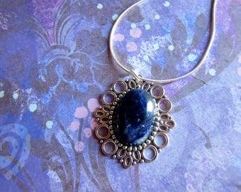 Blue Sodalite Necklace, Silver Sodalite Necklace, Sodalite Stone Necklace, Tumbled Blue Sodalite Jewelry, Blue Gemstone Necklace Sodalite