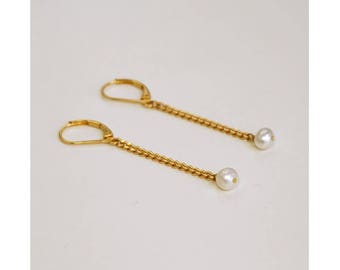 Earrings, gold & white mother of pearl beads
