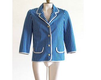 1960s blue and white stripe knit blazer with 3/4 sleeves