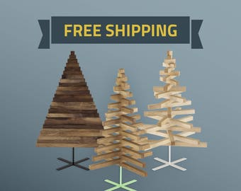 Wooden Christmas Tree / 30in-75cm / Oak, Maple & Walnut wood / X stand in 3 colors / minimal, modern design / FREE SHIPPING /