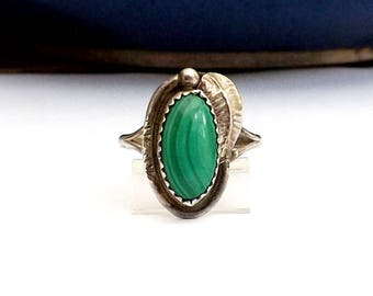 Navajo Sterling Silver Feather Ring Native American Southwest Jewelry 925 Band Green Stone Malachite Size 8