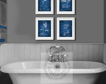 Bathroom decor set of 4 wall art prints, bathroom decor inspired by historical inventors blueprint diagrams, great for bathroom wall decor