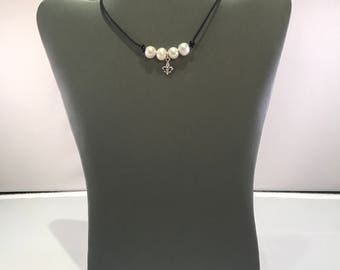 Freshwater Pearl and Fleur De Lis on leather cord choker necklace