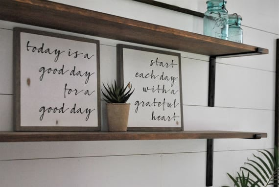 ONLINE SPECIAL! CURSIVE Good Day & Grateful Heart bundle || set of 2 signs || farmhouse decor || distressed rustic wall art