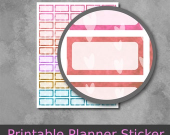 Printable Planner Stickers - Label Stickers with hand drawn hearts design in 6 lovely colors