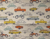 Fabric by the Yard Retro Home Decor, VW Bug Beetle, Roadster, Chevy Ford Truck, Old Station Wagon, Motorcycle Indian, Chrysler Pontiac